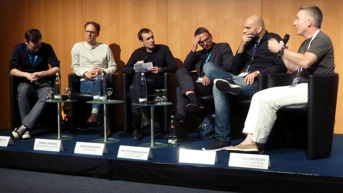 """Das Panel zum Spielejournalismus beim """"gamescom congress"""" 2015; Foto: Vera Lisakowski"""