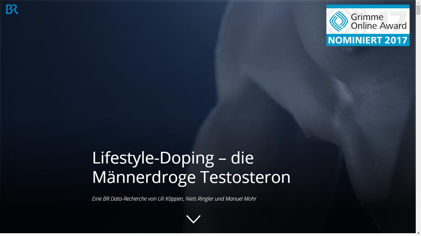 "Screenshot: Startbild der Website ""Lifestyle-Doping – die Männerdroge Testosteron"""