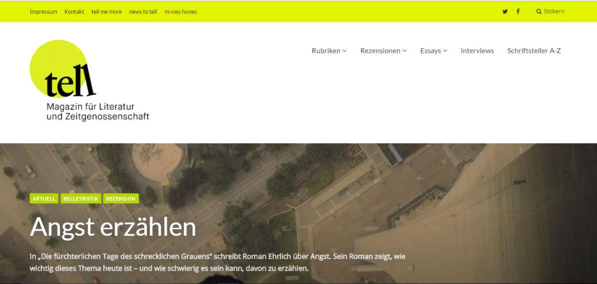 """Screenshot: Startseite von """"tell – Magazin für Literatur und Zeitgenossenschaft"""""""