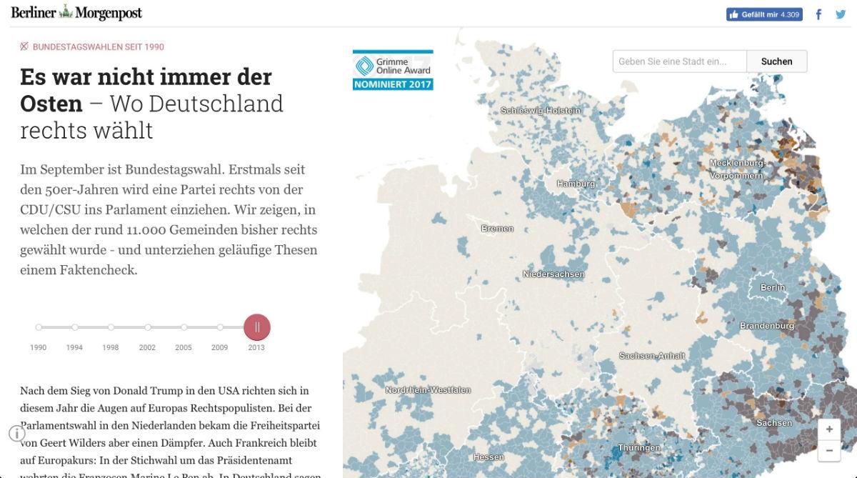 """Screenshot: Interaktive Wahlkarte der Wahlkarte """"Es war nicht immer der Osten"""""""