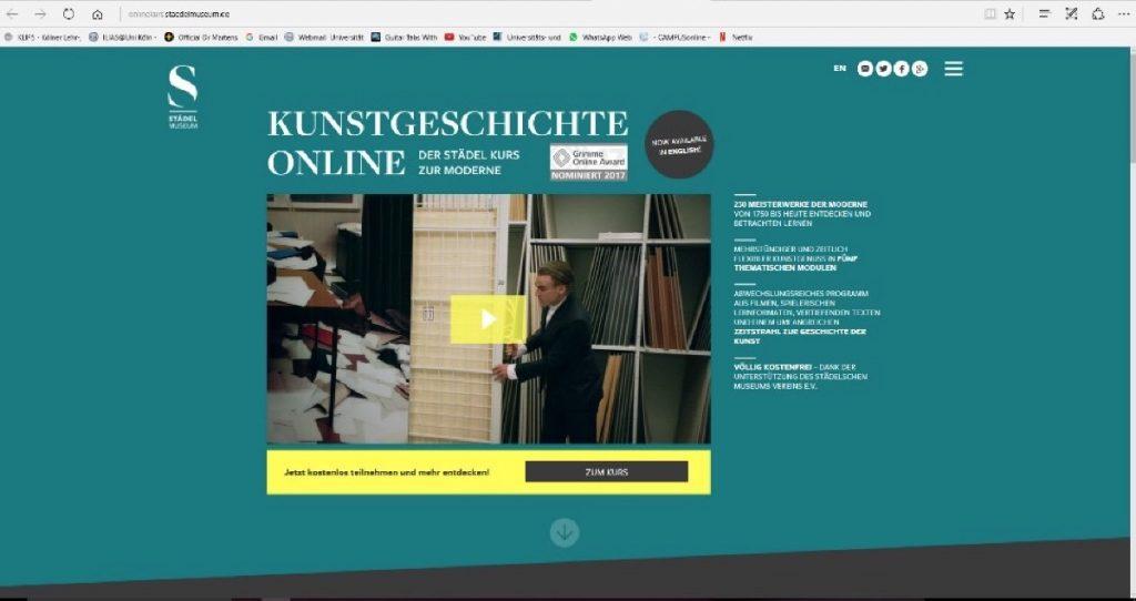 Screenshot: Die Website des interaktiven Onlinekurses zur Kunstgeschichte der Moderne