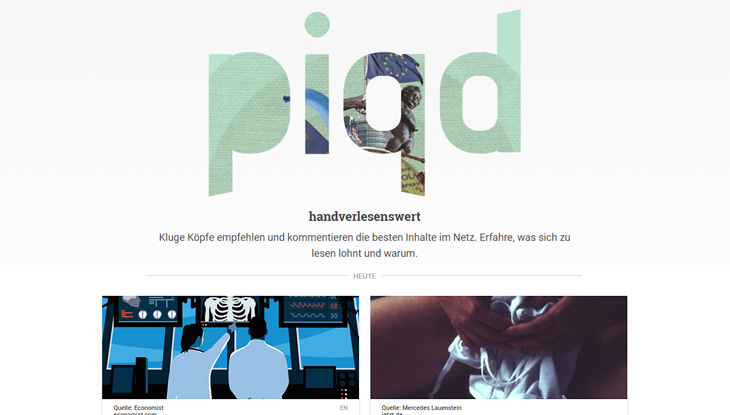 "Screenshot der Website ""piqd - handverlesenswert""."