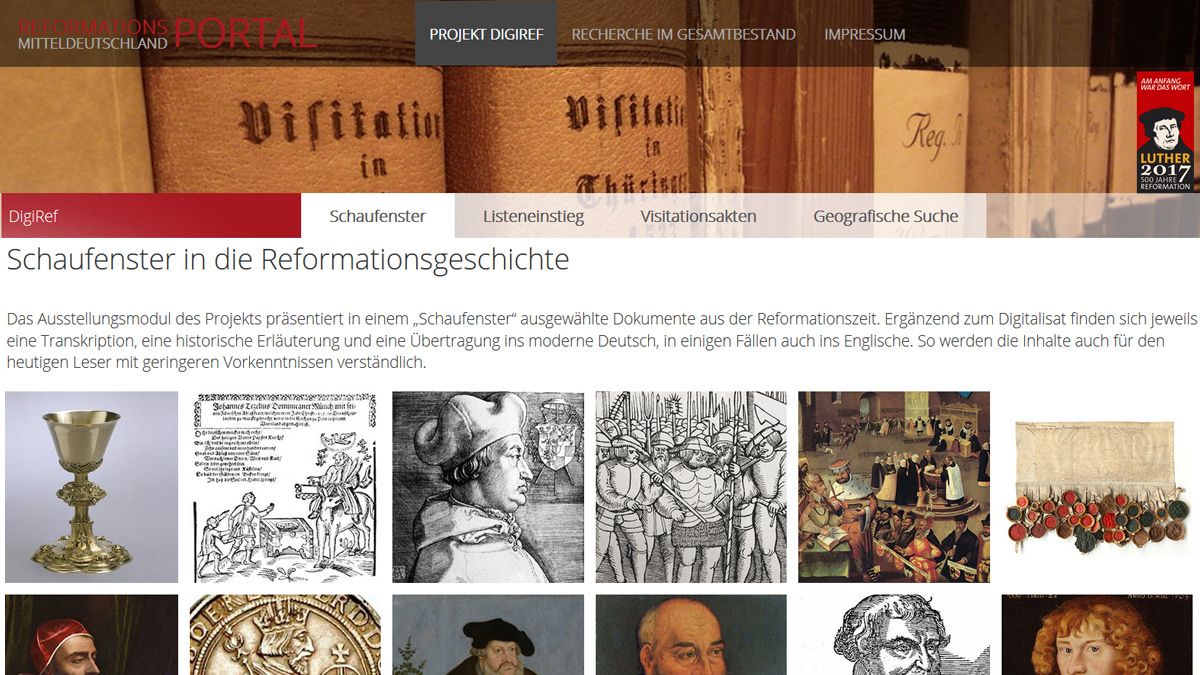 "Screenshot ""Das Reformationsportal"""