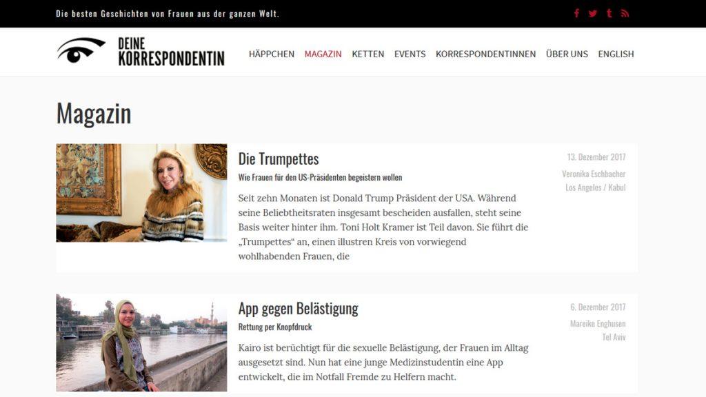 """Screenshot """"Deine Korrespondentin"""""""