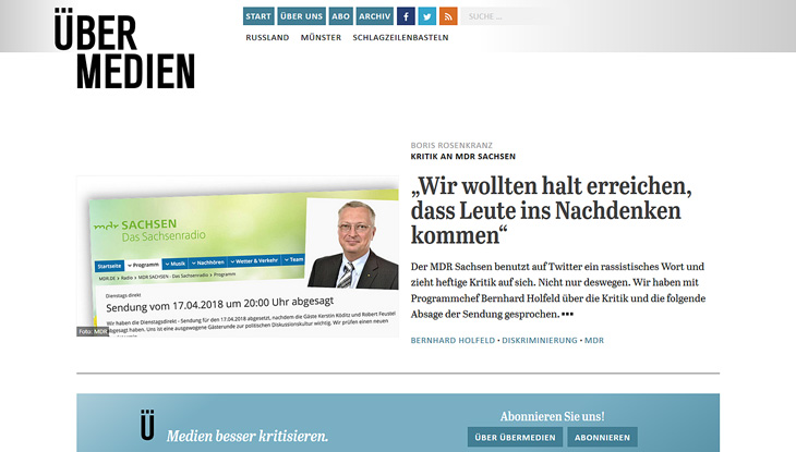 "Screenshot: Website ""Übermedien"""
