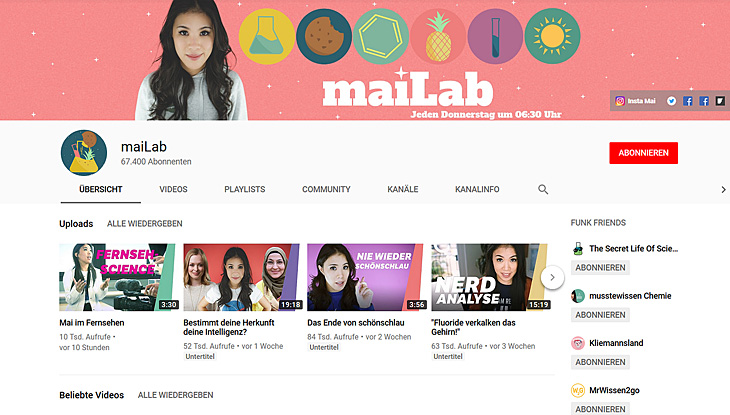 "Screenshot: YouTube-Kanal ""maiLab"""