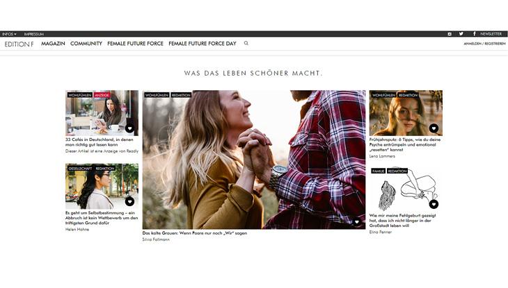 """Screenshot: Website """"Edition F"""""""