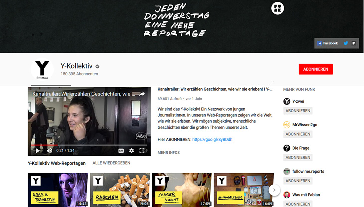 "Screenshot: YouTube-Kanal ""Y-Kollektiv""."