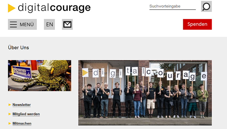 "Screenshot: Website ""Digitalcourage e.V"""