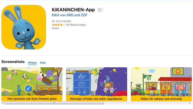 """Screenshot: """"KiKANiNCHEN-App"""""""
