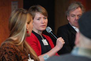 Lisa Altmeier, Steffi Fetz und Thomas Franke bei Panel I beim Social Community Day 2018, Foto: Georg Jorczyk/Grimme-Institut
