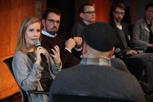 Clare Devlin beim Panel II beim Social Community Day 2018, Foto: Georg Jorczyc/Grimme-Institut