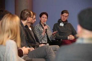 Male Stüssel beim Panel II beim Social Community Day 2018, Foto: Georg Jorczyc/Grimme-Institut