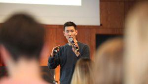 Frank Joung beim SCD 2018 in seinem Workshop: Podcasting für Anfänger: von der Idee zur Umsetzung