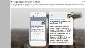 Screenshot: Tschüss Bergbau - Der Bergbau-Countdown zum Nachlesen