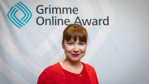 """Katharina Thoms, Produzentin des Podcasts """"Mensch Mutta."""", bei der Bekanntgabe der Nominierten für den Grimme Online Award 2019"""