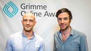 Oliver Fuchs, Community-Redaktor bei Republik (links) und Christof Moser (rechts) bei der Bekanntgabe der Nominierten Foto: Rainer Keuenhof / Grimme-Institut
