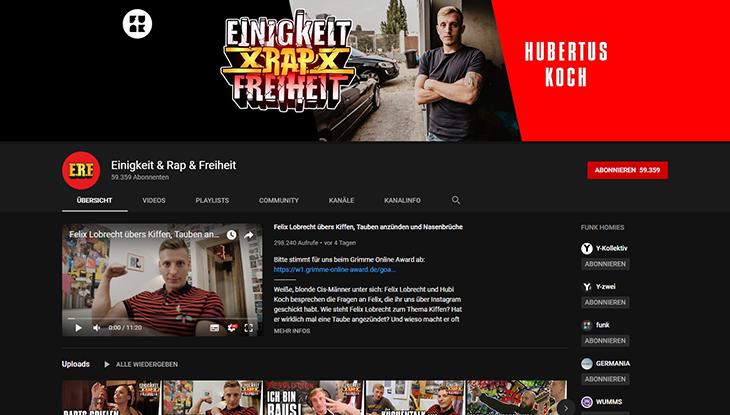 """Screenshot: Kanal """"Einigkeit & Rap & Freiheit"""""""