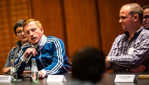"""Hubertus Koch von """"Einigkeit & Rap & Freiheit"""" bei der Bekanntgabe der Nominierungen zum Grimme Online Award 2019. Foto: Rainer Keuenhof/Grimme-Institut"""
