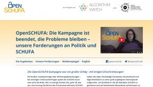 """Schreenshot von """"OpenSCHUFA"""", nominiert 2019 in der Kategorie Spezial."""