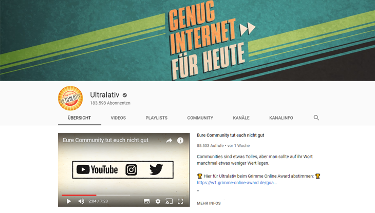 "Screenshot: Youtube-Kanal ""Ultralativ"""