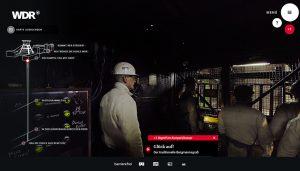 Screenshot: WDR Bergwerk in 360° und VR
