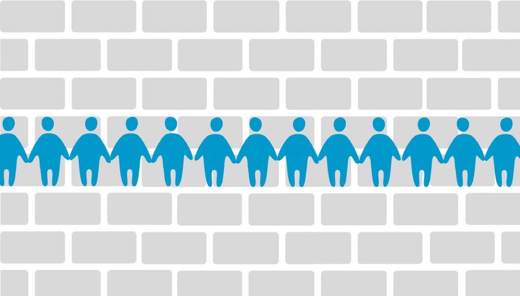 Grafik einer grauen Mauer, davor eine Kette blauer Männchen, die sich an den Händen halten