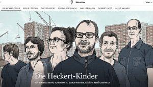 """Sechs gezeichnete Personen auf dem Screenshot des Beitrags """"Die Heckert-Kinder"""" der FAZ."""