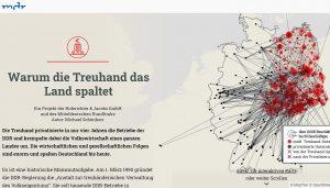 """Text und eine interaktive Grafik auf der Website """"Warum die Treuhand das Land spaltet"""" des MDR."""