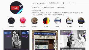 """Historische Bilder auf dem Instagram-Account """"wende_rewind"""" des rbb."""