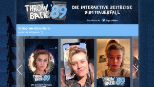 """Bilder einer jungen Frau in der Serie """"Throwback89"""" auf der Website der Tagesschau."""