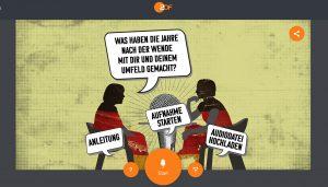 """Screenshot der Upload-Seite von """"Meine Wende – Unsere Einheit"""" vom ZDF."""