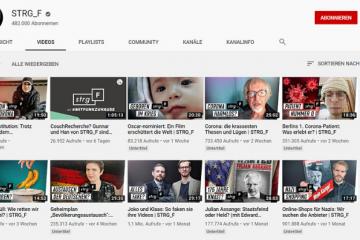 Screenshot des Youtube Kanals von STRG_F