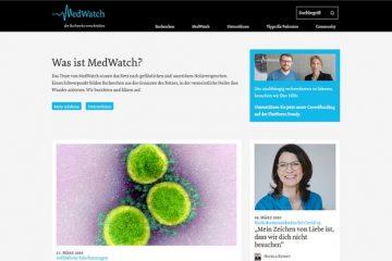 """Screenshot der Titelseite von """"MedWatch"""""""