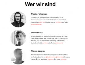 """Screenshot """"Social Media Watchblog"""". Zu sehen sind Martin Fehrensen, Simon Hurtz und Tilmann Wagner."""