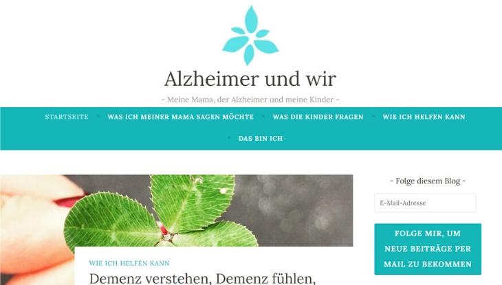 """Screenshot der Titelseite des Blogs """"Alzheimer und Wir"""""""