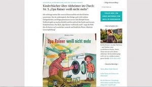 """Auf dem Screenshot des Blogs ist der Blogpost """"Kinderbücher über Alzheimer im Check"""" zu sehen."""