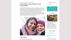"""Screenshot vom Blog """"Alzheimer und wir"""". Darauf zu sehen ist ein Foto von Peggy Elfmann mit ihrer Mutter und die Überschrift des Blogartikels """"Liebe Mama, wann werden wir uns wiedersehen?"""""""