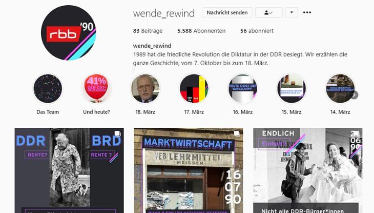 """Screenshot des Instagramkanals """"wende_rewind"""""""