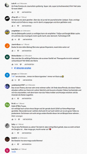 Screenshot der Youtube Kommentare von STRG_F