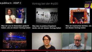 Screenshots des Vortrags von Kathrin Passig und Leonhard Dobusch auf der re:publica 2020.