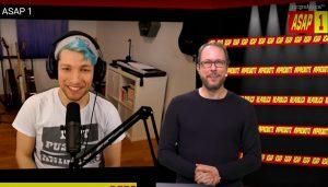 Screenshot des Interviews von Markus Beckedahl mit Rezo auf der re:publica 2020.