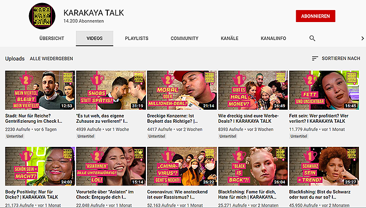 "Screenshot des Youtube-Kanals ""Karakaya Talk"""