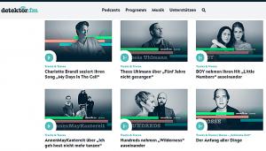 Screenshot verschiedener Folgen von Tracks & Traces, unter anderem: Thees Uhlmann, Bosse, AnnenMayKantereit und Boy.