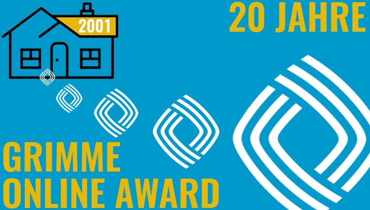 """Illustration mit Schrift """"20 Jahre Grimme Online Award"""": ein kleines Logo des GOA vor einem Wohnhaus mit der Aufschrift """"2001"""" entfernt sich immer weiter vom Haus und wird dabei größer."""