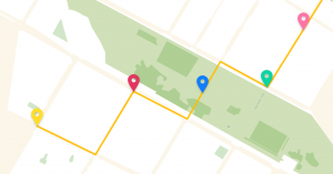 Bild der interaktiven Karte mit verschiednfarbenen Pins, die die Laufstrecke beschreiben.