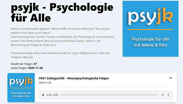 """Screenshot des Psychologie-Podcasts """"psyjk""""."""