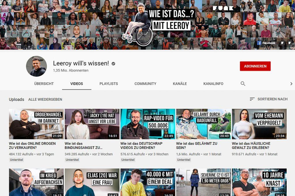 """Screenshot YouTube-Kanal """"Leeroy will's wissen!"""""""