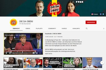 "Screenshot des YouTube-Kanals ""Die da oben!""."