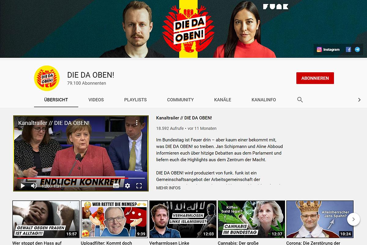 """Screenshot des YouTube-Kanals """"Die da oben!""""."""